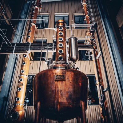 "Hard Truth Distilling Co. - 14"" Copper Bourbon System and a 250 Gallon Vodka System - Nashville, IN (photo by Zach L)"
